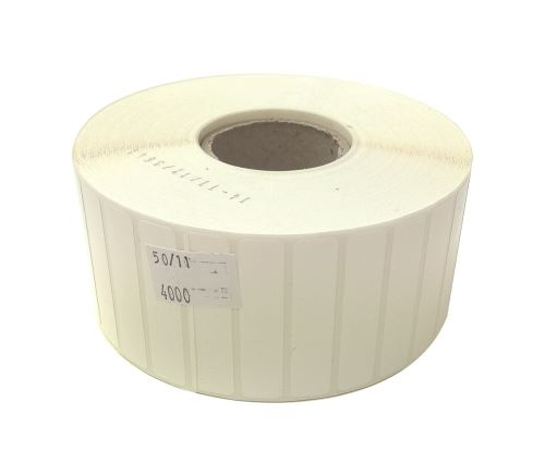 Adhesive Polyethylen labels 50x11mm SYNTYRE (price per 1000pc, 2500 pc/roll)