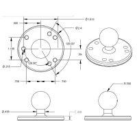 """RAM Mounts kruhový držák s AMPS vzorem děr s 1"""" kulovým čepem"""