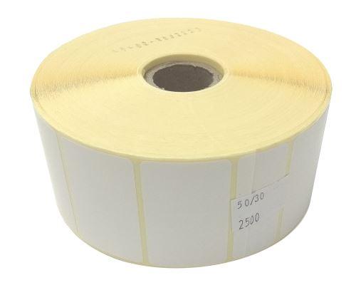 Etiketa na kotouči 50x30mm, papírová, snadné sloupnutí